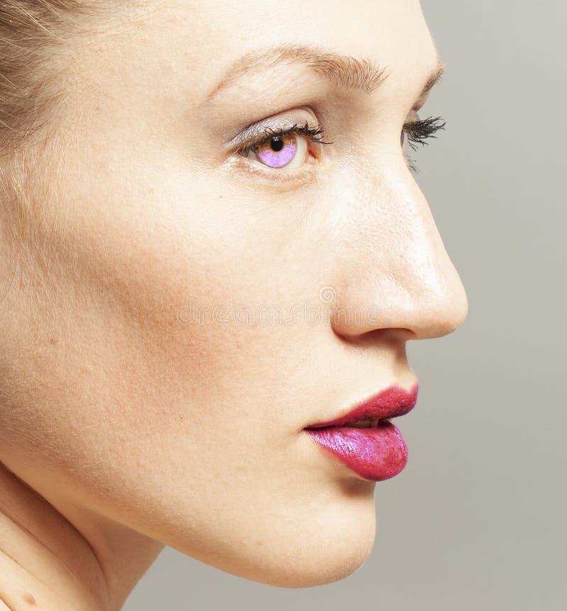 Portret van schoonheidsvrouw met make-up stock foto's