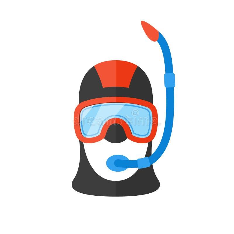 Portret van scuba-duiker in helder kostuum met een ademhalingsbuis vector illustratie