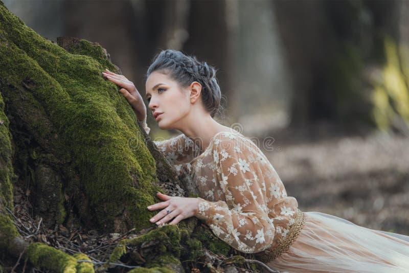 Portret van sensuele jonge vrouw die elegante kleding in een naaldbos dragen stock afbeeldingen