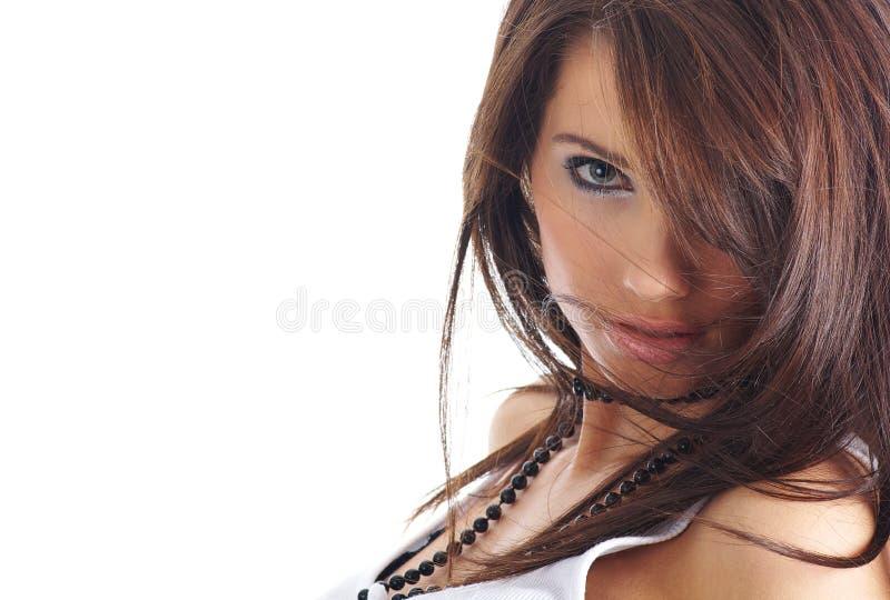 Portret van sexy meisje met lang haar stock afbeeldingen