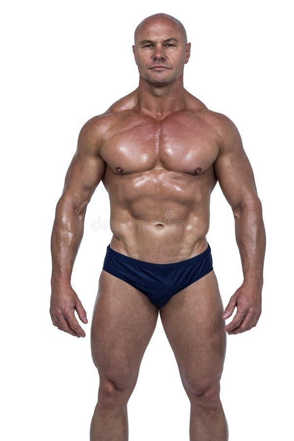 Portret van shirtless atleet stock afbeeldingen