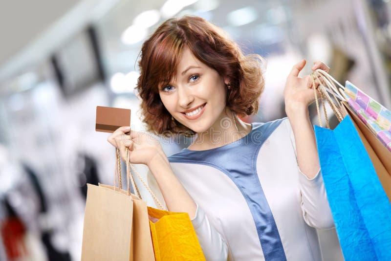 Portret van shopaholic stock afbeeldingen