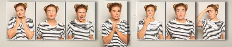 Portret van sluwe jonge vrouw op lichte achtergrond royalty-vrije stock afbeelding