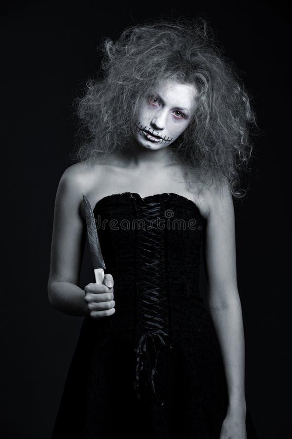 Portret van spook met mes royalty-vrije stock fotografie