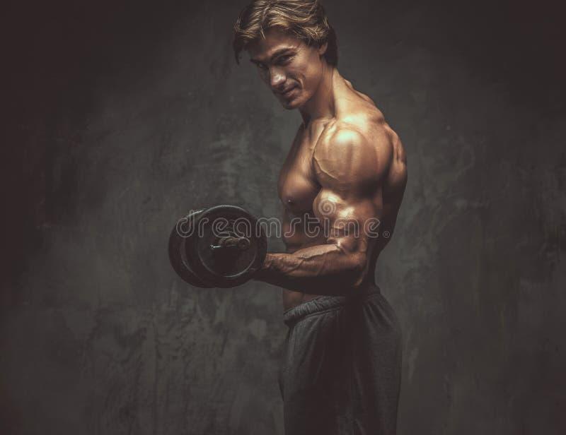 Portret van sportief shirtless mannetje met domoor stock afbeelding