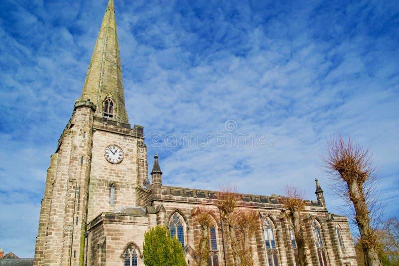 Portret van St Marys kerk Uttoxeter stock foto