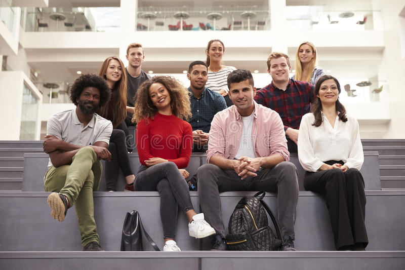 Portret van Student Group On Steps van de Campusbouw stock afbeelding