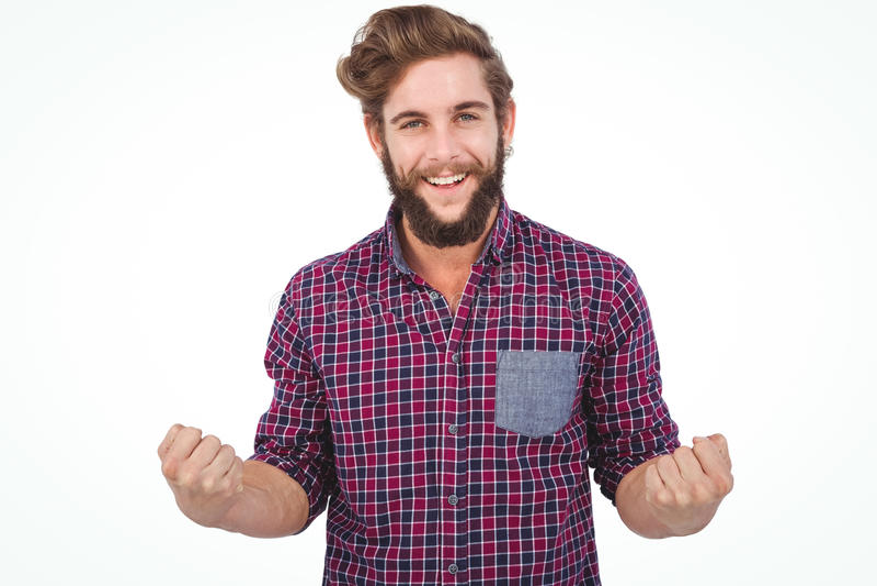 Portret van succesvolle hipster met dichtgeklemde vuist royalty-vrije stock foto's