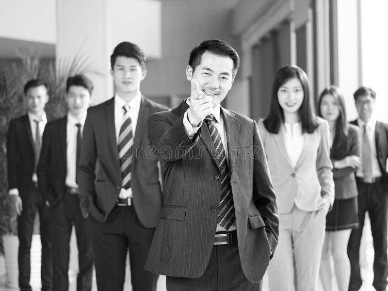 Portret van team van Aziatische bedrijfsmensen stock afbeelding
