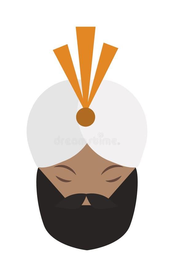 Portret van terloops Indische gezichts jonge baard, snormens met witte gandhivector vector illustratie
