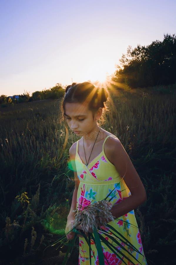 Portret van tienermeisje op een gebied royalty-vrije stock afbeelding