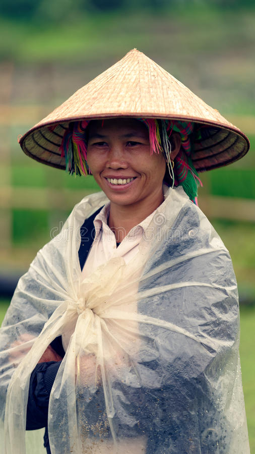Portret van traditionele vrouw, Sapa-Vallei, Vietnam royalty-vrije stock foto