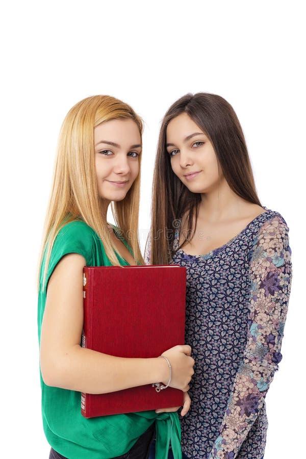 Portret van twee het mooie boek van de tienerholding stock fotografie