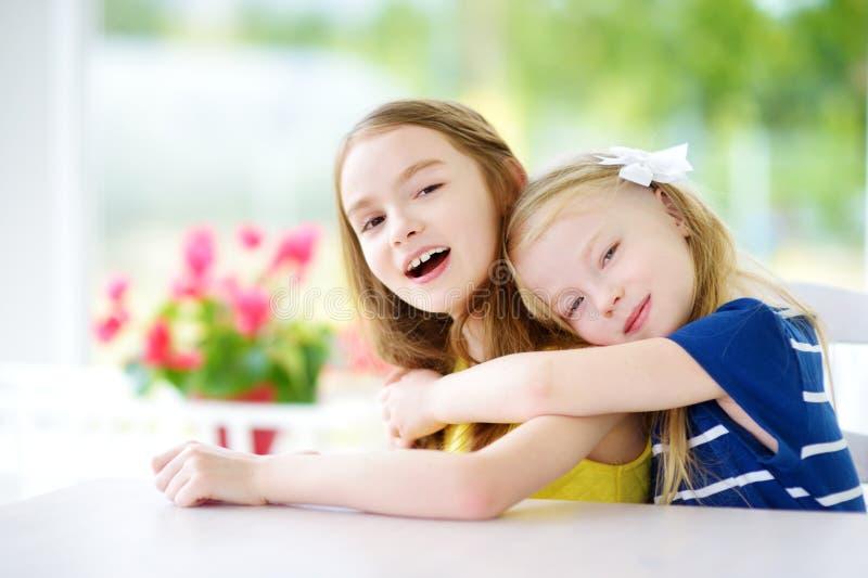 Portret van twee leuke kleine zusters thuis op mooie de zomerdag stock fotografie