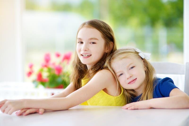 Portret van twee leuke kleine zusters thuis op mooie de zomerdag royalty-vrije stock afbeeldingen