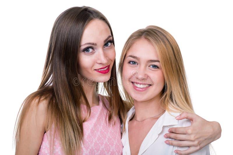 Portret van twee meisjes met copyspace stock afbeelding