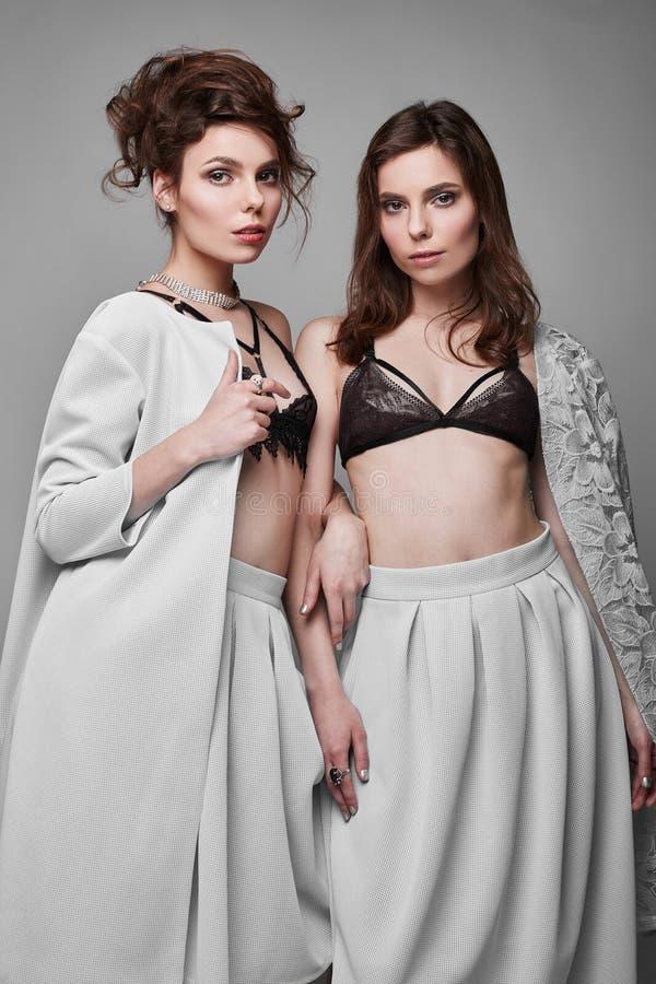 Portret van twee mooie, sensuele donkerbruine model-tweelingen stock fotografie