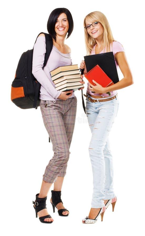 Portret van twee mooie studenten stock afbeeldingen