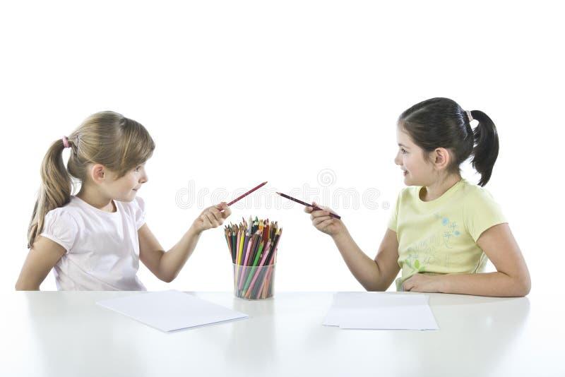 Portret van twee schoolkinderen royalty-vrije stock fotografie