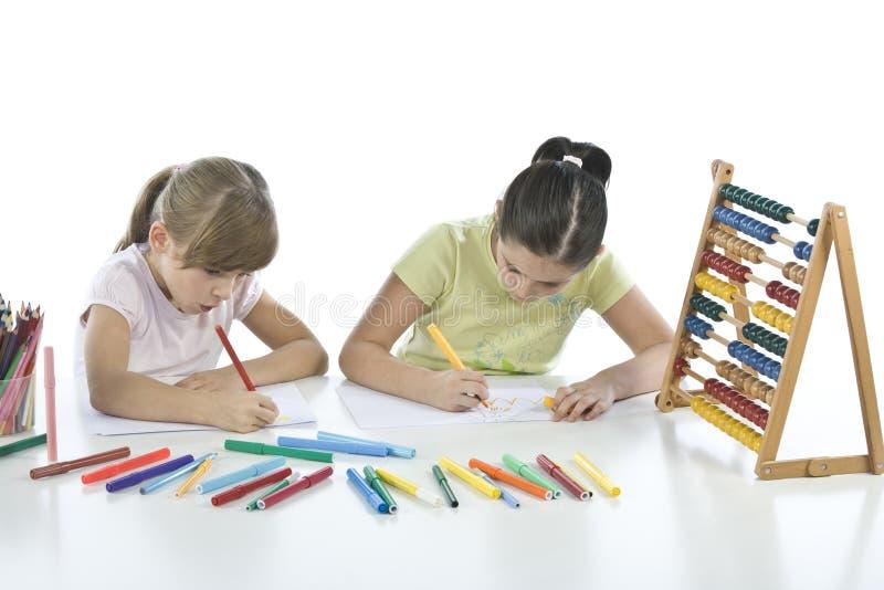 Portret van twee schoolkinderen royalty-vrije stock foto