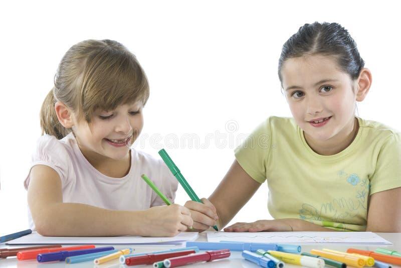 Portret van twee schoolkinderen stock afbeeldingen