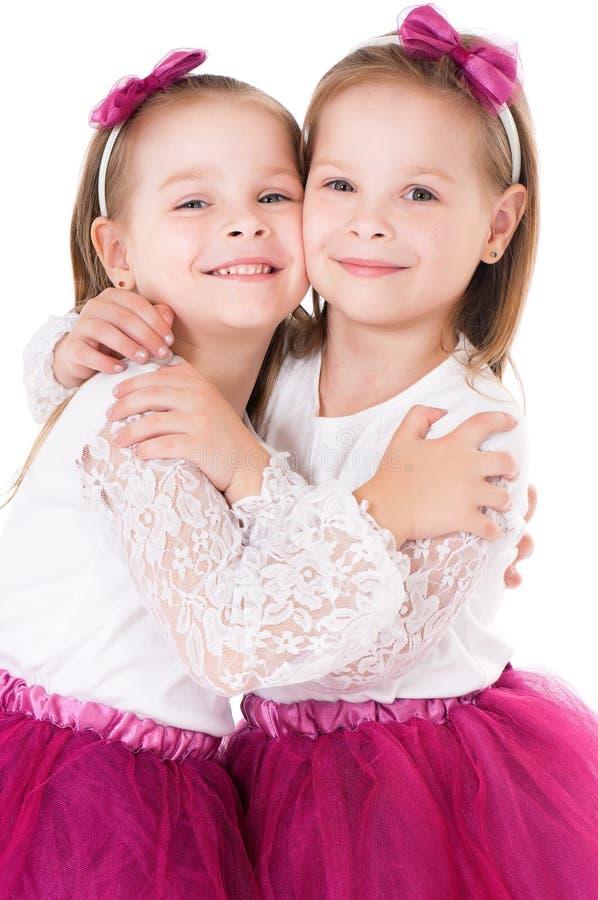 Portret van tweelingmeisjes royalty-vrije stock afbeeldingen