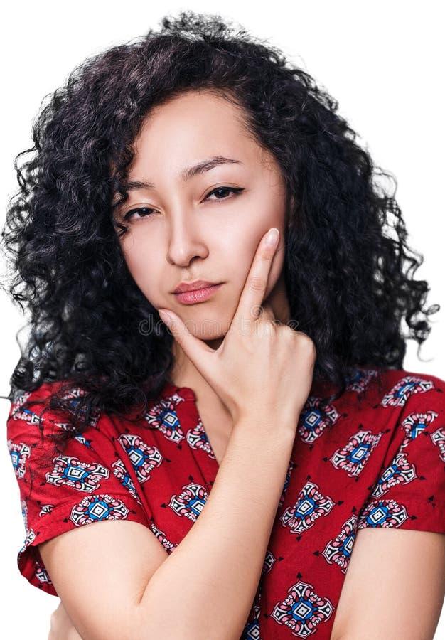 Portret van verdachte jonge vrouw stock afbeeldingen