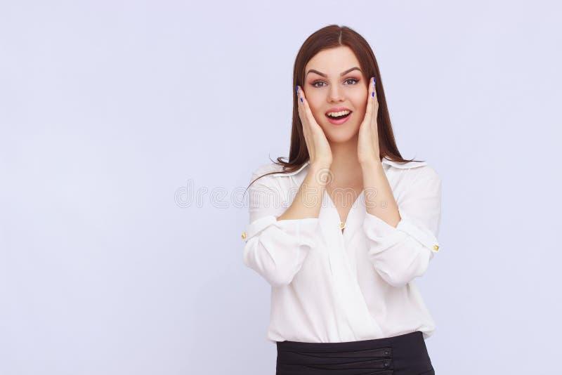 Portret van verraste bedrijfsvrouw royalty-vrije stock foto's