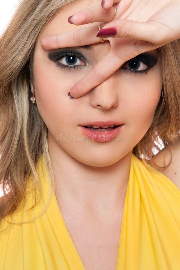 Portret van verraste mooie jonge vrouw. Geïsoleerdu royalty-vrije stock afbeeldingen