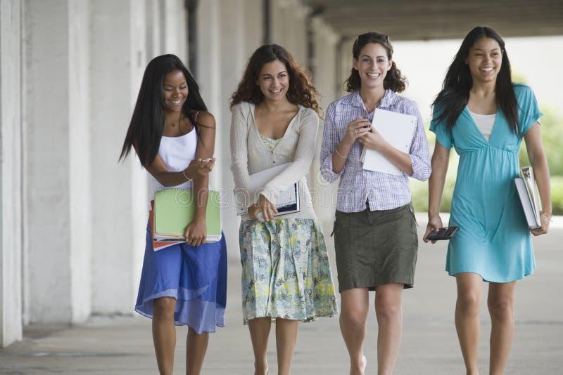 Portret van vier tieners. stock afbeelding