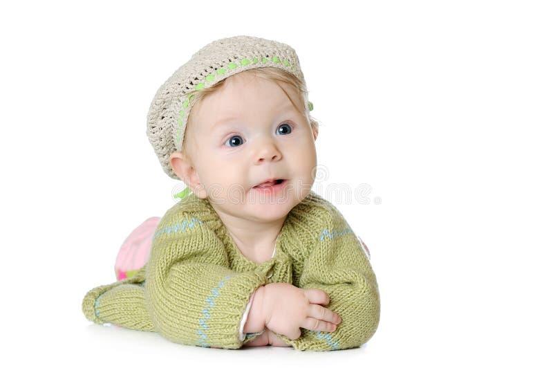 Portret van vijf maanden oud babymeisje het dragen royalty-vrije stock foto's
