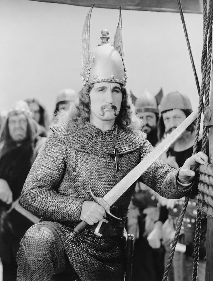 Portret van Viking met zwaard (Alle afgeschilderde personen leven niet langer en geen landgoed bestaat Leveranciersgaranties die  royalty-vrije stock afbeelding