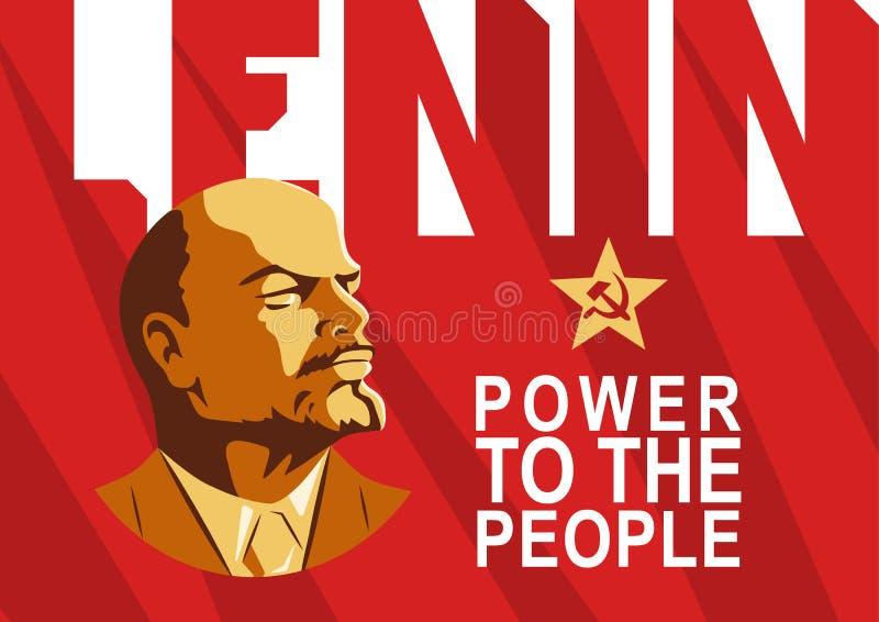 Portret van Vladimir Lenin en het van letters voorzien Macht aan de mensen De affiche stileerde sovjetstijl Leider van de USSR, R royalty-vrije illustratie