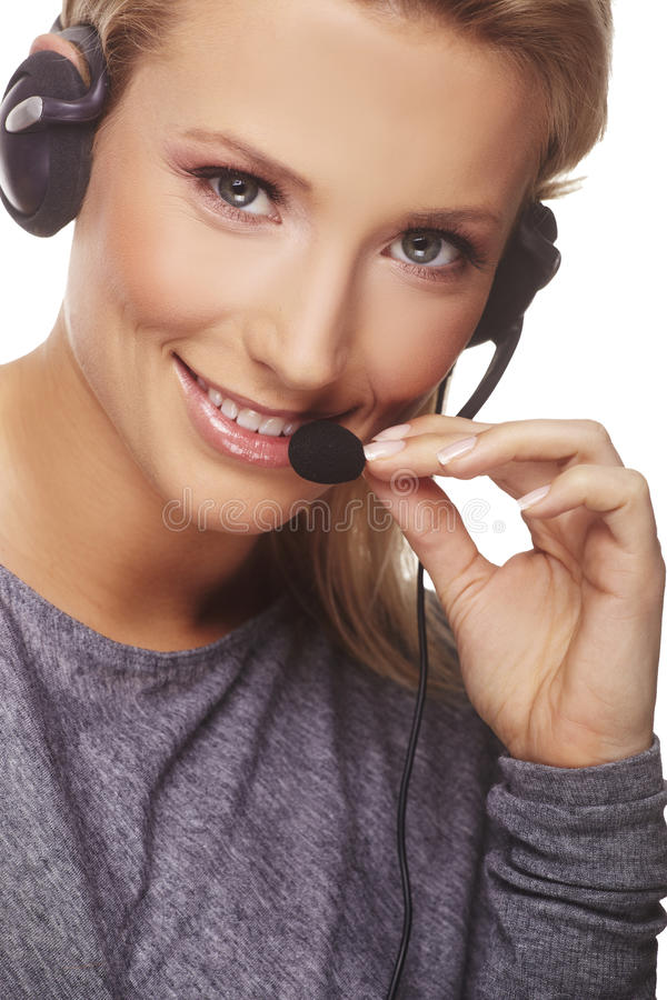 Portret van vriendschappelijke secretaresse/telefoon royalty-vrije stock fotografie