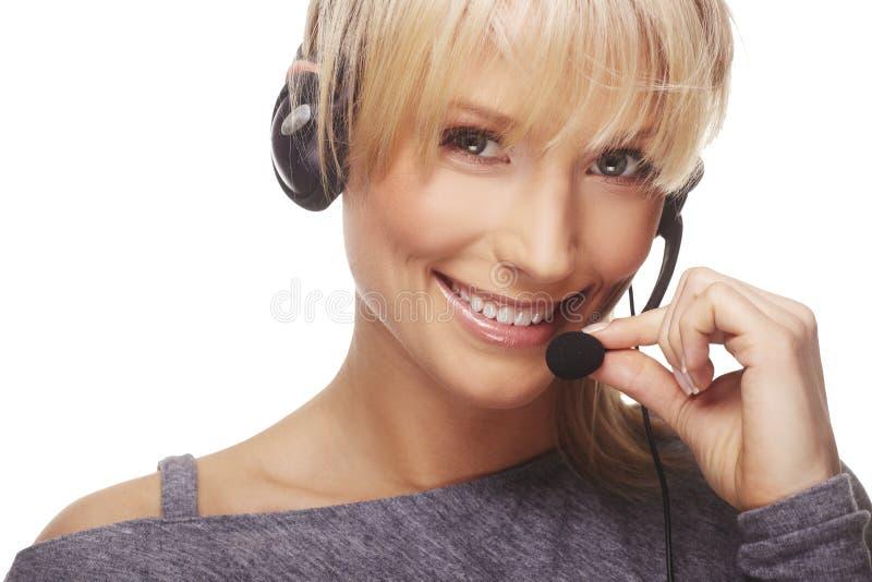 Portret van vriendschappelijke secretaresse/telefoon royalty-vrije stock afbeeldingen