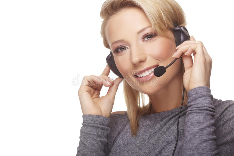 Portret van vriendschappelijke secretaresse/telefoon royalty-vrije stock foto