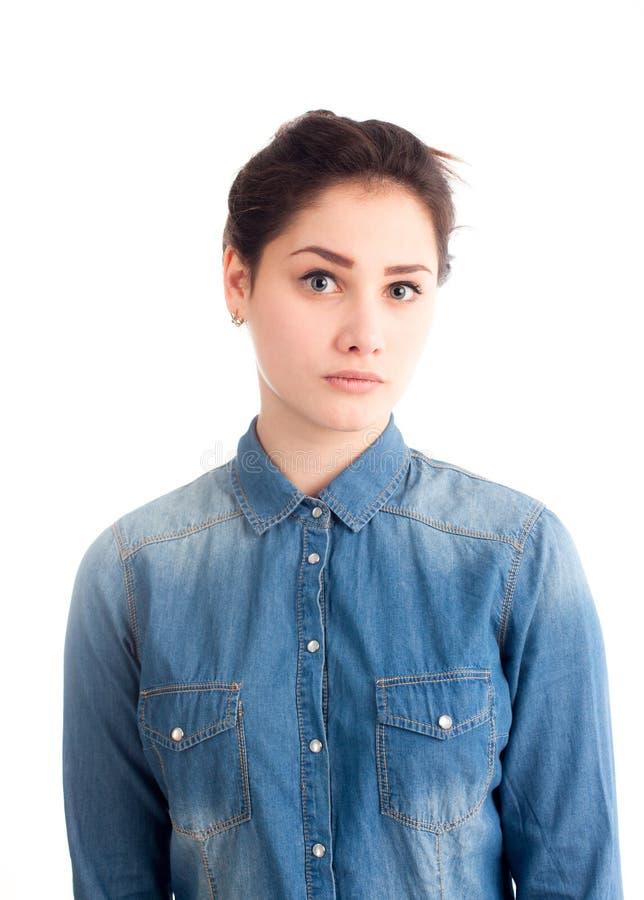 Portret van vrij jong geïsoleerd meisje stock foto's