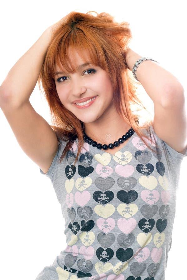 Portret van vrolijk vrij roodharig meisje royalty-vrije stock afbeelding