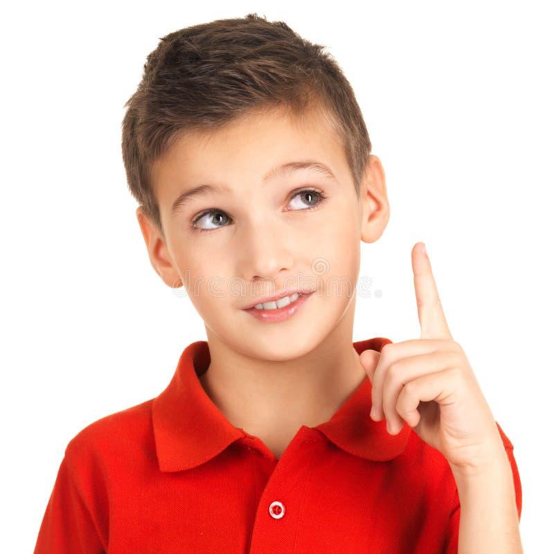 Portret van vrolijke jongen met goed idee royalty-vrije stock foto's