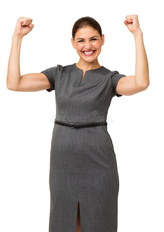 Portret van Vrolijke Onderneemster Clenching Fists stock foto