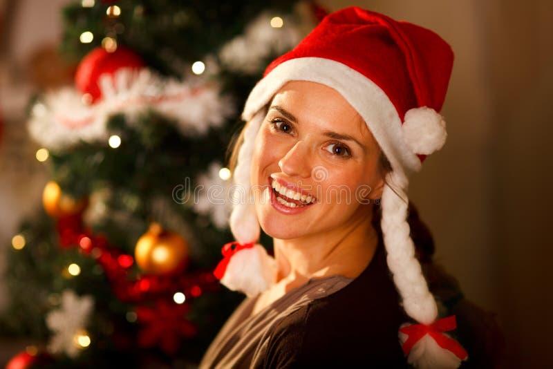Portret van vrouw dichtbij Kerstboom stock foto's