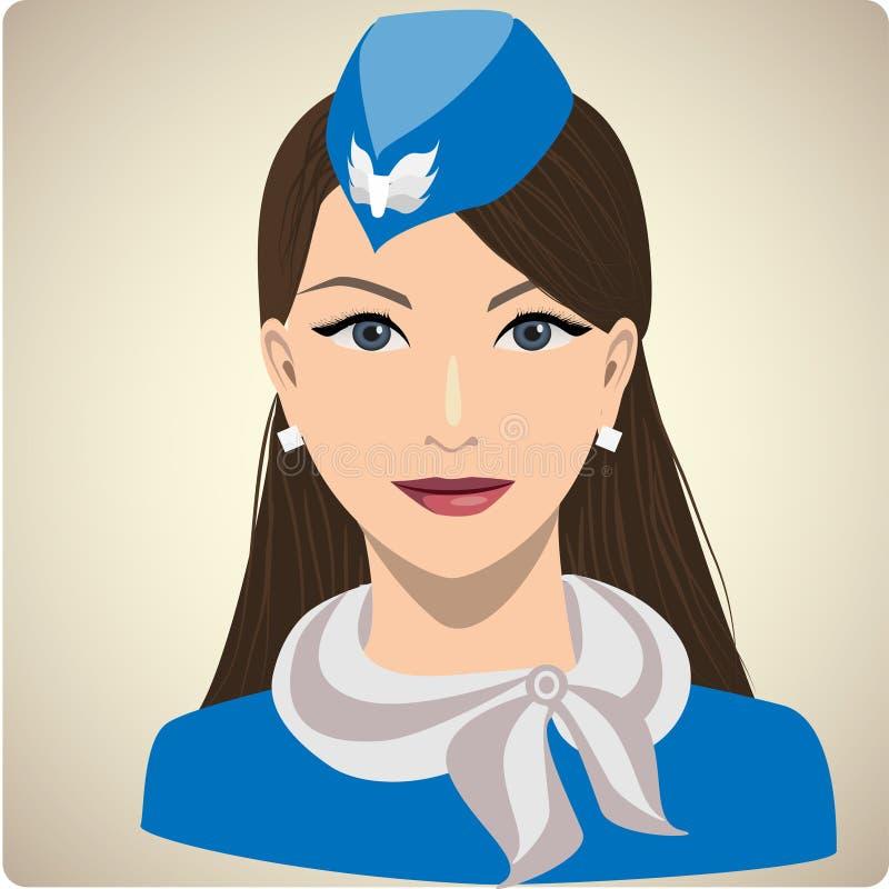 Portret van vrouw in eenvormige stewardess stock illustratie