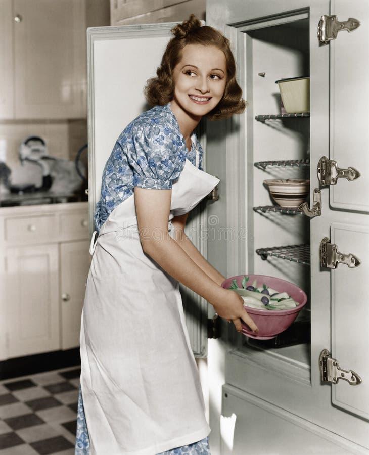Portret van vrouw in keuken (Alle afgeschilderde personen leven niet langer en geen landgoed bestaat Leveranciersgaranties die da stock afbeelding