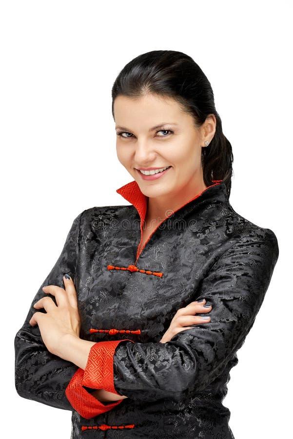 Portret van vrouw met Aziatische eenvormige chef-kok stock afbeeldingen