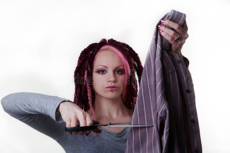 Portret van vrouw met dreadlockshaar stock afbeeldingen