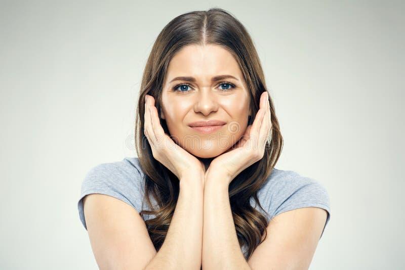 Portret van vrouw met tandpijn stock afbeelding