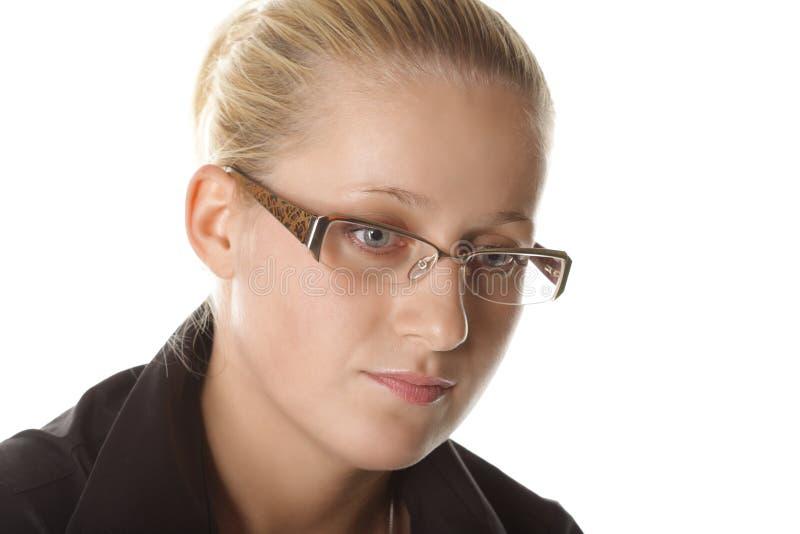 Portret van vrouw in oogglazen stock afbeelding