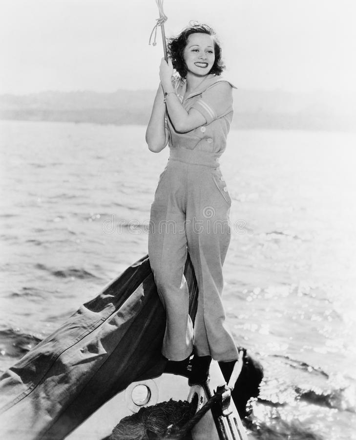 Portret van vrouw op boot (Alle afgeschilderde personen leven niet langer en geen landgoed bestaat Leveranciersgaranties die daar stock fotografie