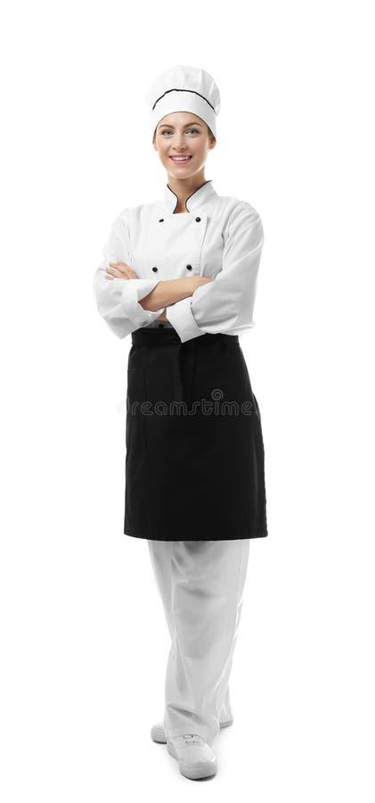 Portret van vrouwelijke die chef-kok op wit wordt geïsoleerd royalty-vrije stock afbeeldingen