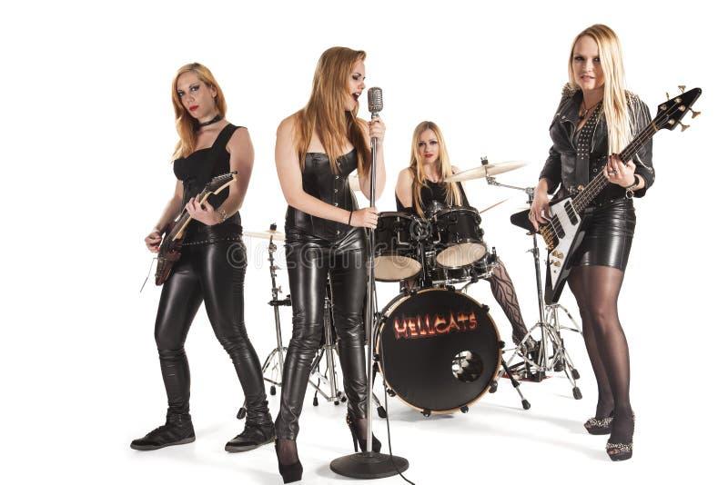 Portret van vrouwelijke muziekband royalty-vrije stock foto's
